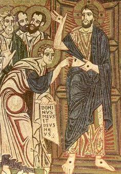 St Thomas the Apostle. Ca 1300, fresco, St Mark's Basilica, Venice.