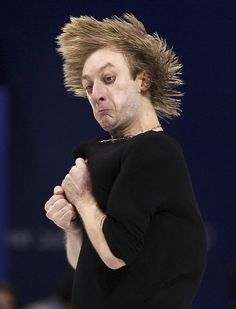 This is Russia's Evgeni Plushenko practicing for the men's figure skating competition at the 2010 Vancouver Olympics.