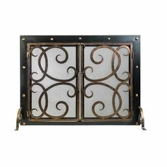 If you're looking to add rustic beauty and safety to your family room, look to the Othello Fireplace Screen! This two-door fireplace screen keeps the fire co… Fireplace Tools, Fireplace Screens, Steel Textures, Wrought Iron Doors, Firescreen, Fireplace Screens With Doors, Fireplace, Fireplace Tool Set, Ornaments Design