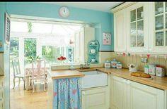 Una cocina en tonos pastel