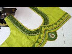 Blouse back neck designing at home Latest Blouse Neck Designs, Simple Blouse Designs, Stylish Blouse Design, Dress Neck Designs, Patch Work Blouse Designs, Hand Work Blouse Design, Blouses For Women, Ladies Blouses, Kurta Neck Design