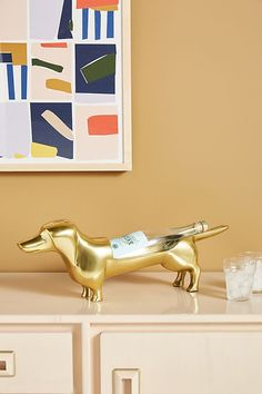 Dapper Dog Wine Bottle Holder by Anthropologie in Gold, Kitchen