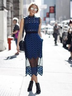 A Navy-and-Black High-Neck Dress With Sheer Details