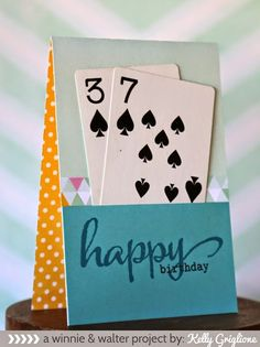 Happy Birthday customized age card using playing cards and a sentiment from the . Happy Birthday customized age card using playing cards and a sentiment from the classic Winnie & Walter The Big, the Bol. Tarjetas Diy, Karten Diy, Bday Cards, Handmade Birthday Cards, Easy Diy Birthday Cards, Cards For Men Handmade, Handmade Gifts For Husband, Handmade Stamps, Personalized Birthday Cards