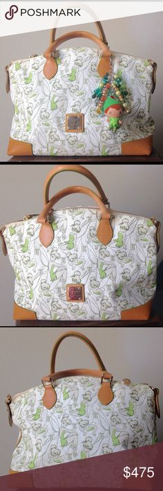Dooney & Bourke Tinkerbell Disney Satchel Oh ladies. This bag is almost too adorable. Hard to find, Dooney and Bourke Tinkerbell satchel from the 2014 Disney Marathon. This bag is in amazing preowned condition. It has a couple of flaws which I have photographed. There are a few small water stains on the corners and under one handle. There are also a couple of spots inside the bag. These are minor issues and no way detract from the gorgeousness of this bag. It is a stunner! Includes shoulder…