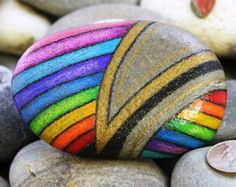 Check out our hand painted stones selection for the very best in unique or custom, handmade pieces from our shops. Pebble Painting, Pebble Art, Stone Painting, Hand Painted Rocks, Painted Pebbles, Rock Crafts, Arts And Crafts, Quilling, Ladybug Rocks