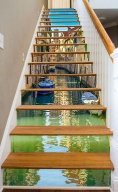 Escalier Art, Stairway Art, Painted Stairs, Painted Staircases, Painted Floors, Stair Risers, Stair Rods, Staircase Design, Modern Staircase