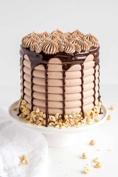 This Nutella Cake is six layers of pure decadence! Delicious chocolate cake layers, Nutella buttercream, and Nutella ganache. Nutella Ganache, Nutella Cake, Tasty Chocolate Cake, Drip Cakes, Food Cakes, Cupcake Cakes, Cake Decorating Frosting, Bolo Cake, Ice Cake