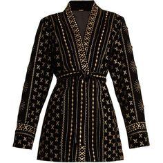 Dodo Bar Or Sendy embroidered velvet kimono jacket (4.195 NOK) ❤ liked on Polyvore featuring outerwear, jackets, dresses, coats, blazer, black gold, kimono jacket, boho embroidered jacket, boho kimono jacket and embroidered velvet jacket