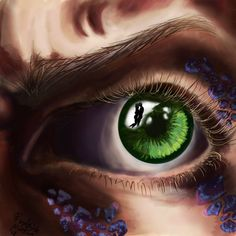 """""""Green Eyed Monster"""", Photoshop, 8""""x8"""", Final Project for my Illustration Class"""