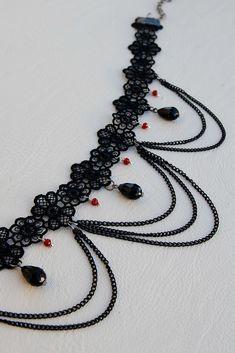 Lace Necklace, Lace Jewelry, Jewelry Necklaces, Handmade Jewelry, Gothic Necklaces, Jewellery, Crystal Jewelry, Diy Jewelry, Diy Choker