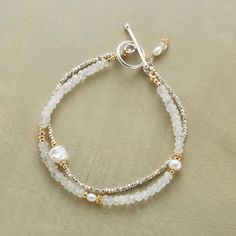 """MOONSTONE LUSTER BRACELET�--�Sterling silver, cultured pearls and touches of 14kt goldfill bring luster and gleam to iridescent moonstones. Toggle clasp. Exclusive. Handmade in USA. 7-1/2""""L."""