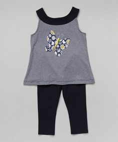 This Navy Butterfly Swing Top & Leggings - Toddler & Girls by Hippo Hula is perfect! #zulilyfinds