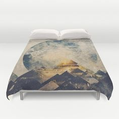 Duvet Cover featuring One Mountain At A Time by HappyMelvin