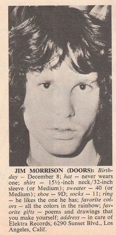 Jim Morrison never wears a hat