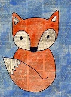 This fox painting looks like students recycled newspaper for the background of a painting, but actually one sheet was scanned and printed for all of them.