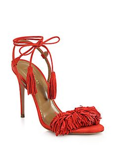 Aquazzura Wild Things Tasseled Suede Fringe Sandals