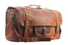 153ebb5587f8 Men s Vintage Genuine Leather New Large Duffel Gym Luggage Weekend  Overnight Bag