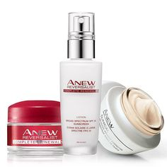 Look virtually line-free with this Anew Trio! A $72 value, the collection includes: • Anew Reversalist Complete Renewal Night Cream Try-It Size - 0.5 oz. net wt. a $12 value • Anew Reversalist Complete Renewal Day Lotion Broad Spectrum SPF 25 - 1.7 fl. oz. a $32 value • Anew Clinical Advanced Wrinkle Corrector - 1.7 fl. oz. a $28 value  AvonRep shirlean walker