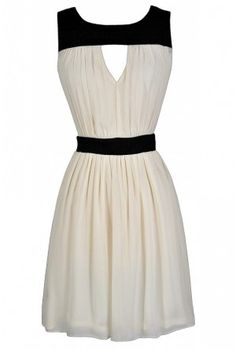 Black and Ivory Cutout Dress  www.lilyboutique.com