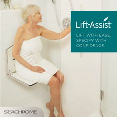 Seachrome's new Lift-Assist Technology is ideal for your aging-in-place remodel, providing total ADA compliance for shower seats in the bathroom. Aging In Place, Strapless Dress, Technology, Wedding Dresses, Design, Fashion, Strapless Gown, Tecnologia, Bride Gowns