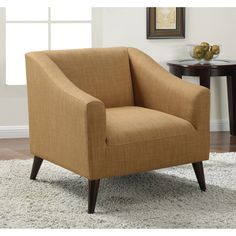 Quincy Gold Linen Upholstered Arm Chair - Overstock™ Shopping - Great Deals on Living Room Chairs