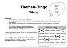 Themenbingo Winter Winter, Boarding Pass, Word Reading, Templates, Cards