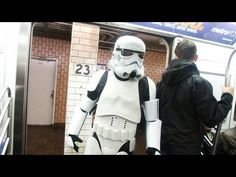 A staged a reenactment of the first Princess Leia / Darth Vader scene from Star Wars in front of unsuspecting riders on a New York City subway car. Must watch, very cool and funny!