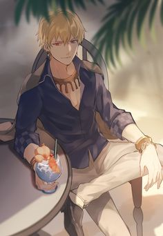 Just sit down 1 my best character 😍 badass Anime Sexy, Anime Guys, Manga Anime, Anime Art, King Gilgamesh, Gilgamesh And Enkidu, Fate Zero, Character Art, Character Design