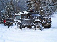 Land Rover Defender.  https://www.pinterest.com/dapoirier/4x4-and-trucks/