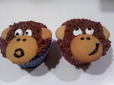 Monkey Cupcakes I made for a friends baby shower. Banana Cupcake with Chocolate Buttercream.