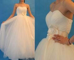 Sweetheart neckline layers tulle wedding dress with sash  $280 @ etsy