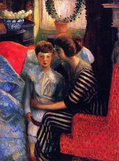 The Artist's Wife and Son, William James Glackens, 1911
