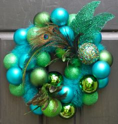 Christmas wreath holiday wreath peacock front door by FestiveTouch