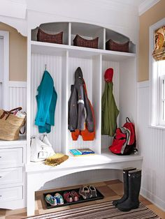 Add a Mudroom - The smallest most important room in your home? Okay, that's probably the bathroom, but don't overlook the possibilities of a mudroom. Organized but simple storage, hooks for coats, drawers or baskets for hats and gloves. A dirt friendly tiled floor and mattes to hold snowy boots. Perfect.