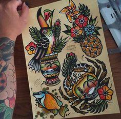 Tropical Tattoo Flash