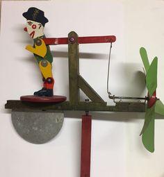 Folk Art Whirlygig Whirly Gig Weathervane Clown Dancing Vintage Antique  | eBay