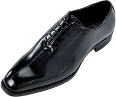 Bolano Mens Exotic Faux Eel Skin Print Oxford Dress Shoe in Navy and Black: Style Brayden Navy-002