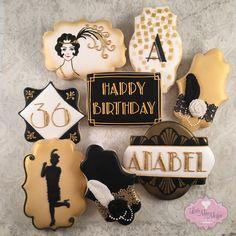 Little Miss Moffat Cookies Roaring 20s Party, Gatsby Themed Party, Great Gatsby Party, 1920s Party, Gatsby Wedding, Roaring Twenties, Happy Birthday Cookie, Birthday Cookies, 30th Birthday