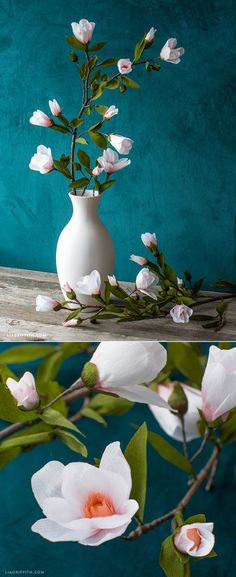 #CrepePaper Magnolia branch pattern and tutorial at www.LiaGriffith.com Fake Flowers, Diy Flowers, Fabric Flowers, Paper Succulents, Paper Plants, Tissue Paper Flowers, Paper Roses, Diy Fleur, Magnolia Branch