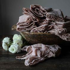 BLUSHING CORAL / Plant Dyed Napkins {Finished Edges}