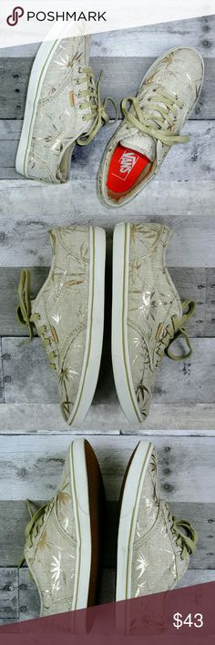 Vans Gold Palm Print Canvas Sneaker Vans canvas sneakers, tan with gold Palm leaf print and white rubber outer sole, tan bottom sole. Excellent condition with very minimal wear. Vans Shoes Sneakers