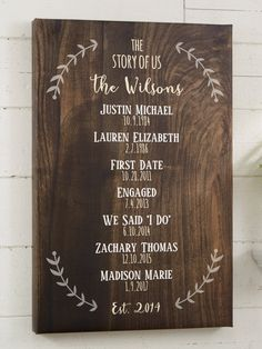 "I'm OBSESSED with this ""Story of Us"" personalized family sign! It's so pretty and perfect for a gallery wall! I love the rustic look of this farmhouse style wall art! You can choose from a grey or brown wood texture background and add any 3 lines to the top and up to 15 names or events and dates plus any line at the bottom. Such a great gift idea too!"