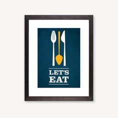 Let's Eat kitchen art flatware utensil print by GraphicAnthology, $22.00