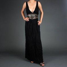 Black Sexy Empire Tribal Beaded Grecian Maxi Dress