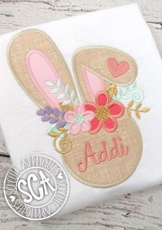 Easter bunny face Embroidery design, Easter Monogram applique, socuteappliques, flower bunny ears embroidery, girls Easter bunny applique This is an embroidery file, NOT a patch. You must have an embroidery machine to use these designs.