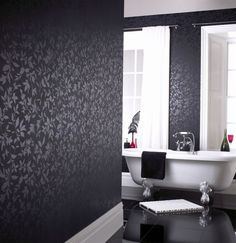 Dramatic yet Imposing Black Painted Wall Concept for Home Interiors: Beautiful Bathroom Interior With Floral Black Walls Design Combined With White Furniture Patterned Wallpaper Ideas And White Bath Tub Black Painted Walls, Dark Walls, Black Rooms, Bathroom Wallpaper, Black Wallpaper, Wallpaper Ideas, Nice Wallpapers, Textured Wallpaper, White Furniture