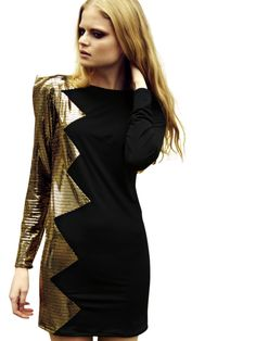 Gold zig zag bodycon dress
