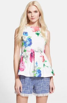 "Free shipping and returns on kate spade new york 'blooms' stretch cotton peplum top at Nordstrom.com. <p><B STYLE=""COLOR:#990000"">Pre-order this style today! Add to Shopping Bag to view approximate ship date. You'll be charged only when your item ships.</b></p><br>Painterly blossoms signal the coming spring on a sleeveless stretch-cotton top sweetened with a flouncy peplum hem."