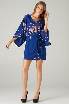 Kimono Sleeve Floral Print Dress
